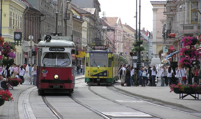 Two trams on Széchenyi street, Miskolc, Hungary.